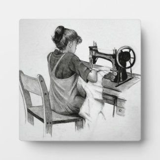 Pencil Drawing: Girl Sewing On Old Sewing Machine Plaque