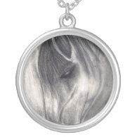 Pencil Drawing - Horse Grazing Custom Necklace