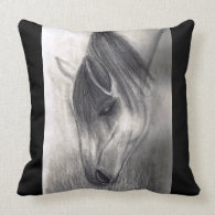 Pencil Drawing - Horse Grazing Pillows