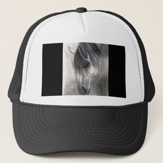 Pencil Drawing - Horse Grazing Trucker Hat