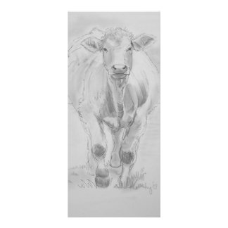 Pencil Drawing of a Cow walking towards you Customized Rack Card