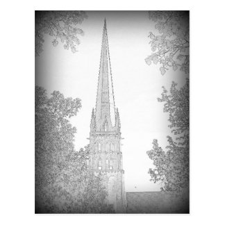 Pencil drawing of church spire postcard