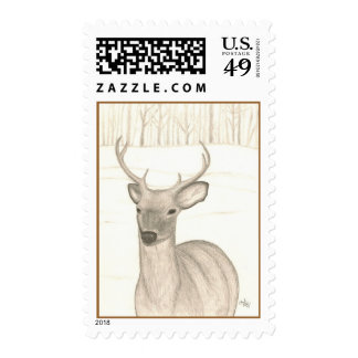 Pencil Drawing of Deer in Snow on Postage Stamps
