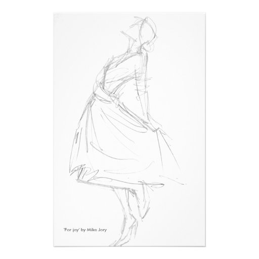 Pencil Drawing of Elegant Woman 'For Joy' Stationery