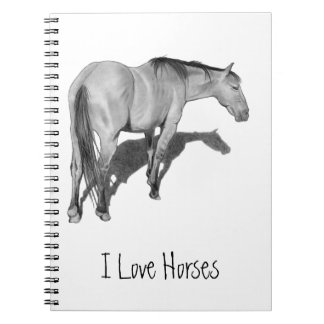 Pencil Drawing of Horse: Horse Lovers Notebook