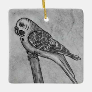 Pencil Drawing of Parakeet Sitting on Stick Perch Ceramic Ornament