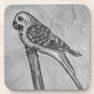 Pencil Drawing of Parakeet Sitting on Stick Perch Coaster