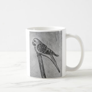 Pencil Drawing of Parakeet Sitting on Stick Perch Coffee Mug