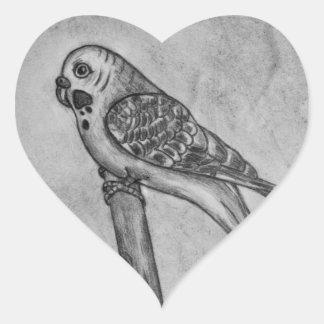 Pencil Drawing of Parakeet Sitting on Stick Perch Heart Sticker