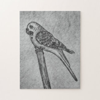 Pencil Drawing of Parakeet Sitting on Stick Perch Jigsaw Puzzle