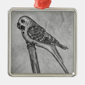 Pencil Drawing of Parakeet Sitting on Stick Perch Metal Ornament