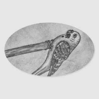 Pencil Drawing of Parakeet Sitting on Stick Perch Oval Sticker