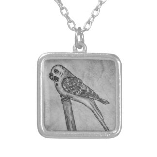 Pencil Drawing of Parakeet Sitting on Stick Perch Silver Plated Necklace