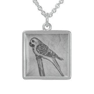 Pencil Drawing of Parakeet Sitting on Stick Perch Sterling Silver Necklace