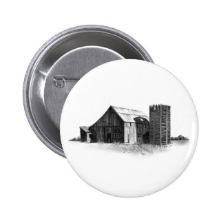 PENCIL DRAWING: OLD BARN, SILO: REALISM PINBACK BUTTON