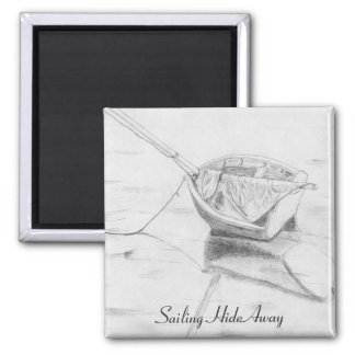 Pencil Drawing-Sail Boat on Beach Refrigerator Magnet