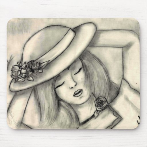 pencil drawing sleeping girl mouse pad