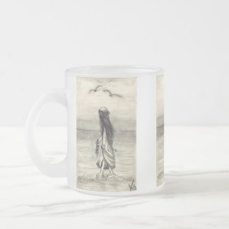 pencil drawing , waking girl frosted glass coffee mug