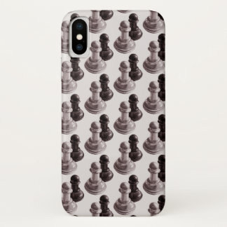 Pencil Drawn Pawns Pattern Chess iPhone X Case