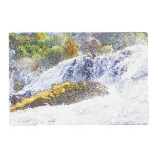 pencil drawn waterfall laminated placemat