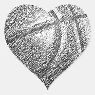 Pencil Effect Basketball Heart Sticker