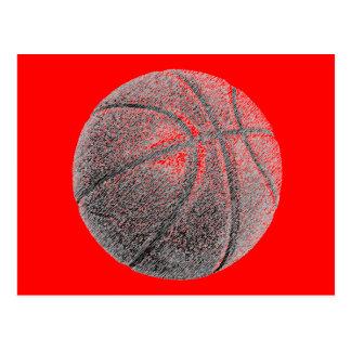 Pencil Effect Red Pop Art Basketball Post Card