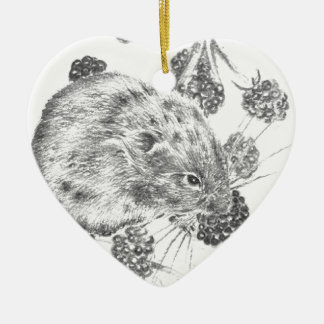 Pencil field mouse and berries ceramic ornament