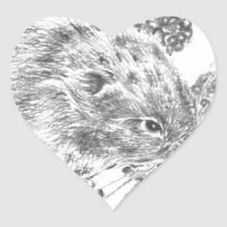 Pencil field mouse and berries heart sticker