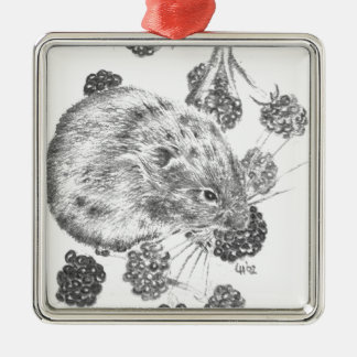 Pencil field mouse and berries metal ornament