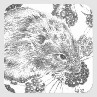 Pencil field mouse and berries square sticker