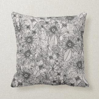 pencil flowers throw pillow