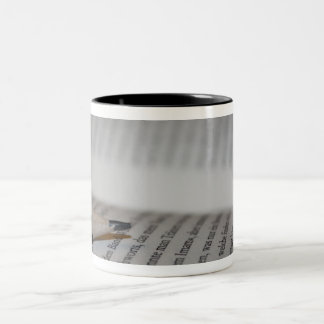 Pencil on book pages Two-Tone coffee mug