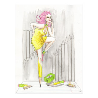 Pencil Personified surreal pin up postcard print