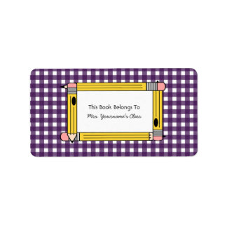 Pencil & Polka Dots School Book Label Bookplate Address Label