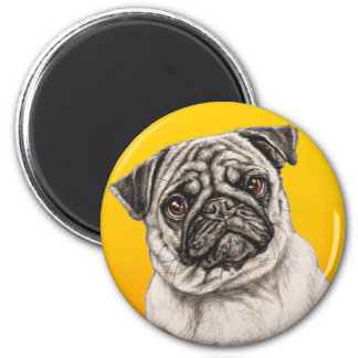 Pencil Pug 2 Inch Round Magnet