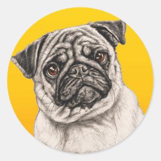 Pencil Pug Round Sticker
