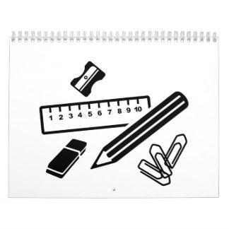 Pencil ruler paper clip eraser wall calendar