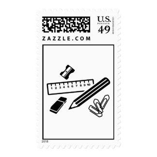 Pencil ruler paper clip eraser stamps