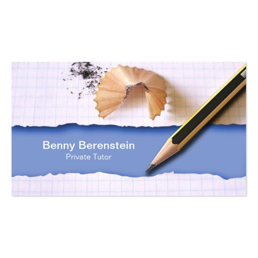 Pencil Shapening Private Tutor Blue Business Card