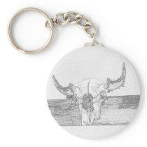 Pencil sketch Bull Skull Keychain