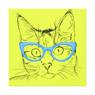 Pencil Sketch Cat with Glasses Canvas Print