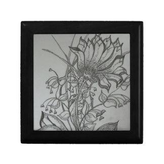 Pencil Sketch Flowers Jewelry Box