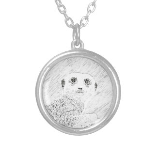 pencil sketch meerkat personalized necklace