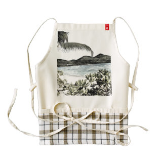 Pencil sketch of a lovely tropical paradise zazzle HEART apron