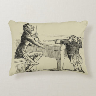 Pencil Sketch of Two Men Playing Pool Accent Pillow