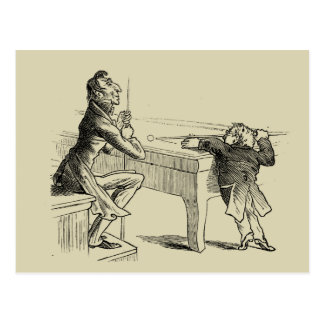 Pencil Sketch of Two Men Playing Pool Postcard
