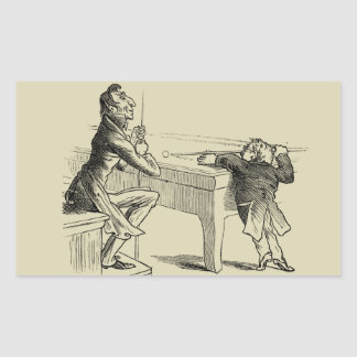Pencil Sketch of Two Men Playing Pool Rectangle Sticker