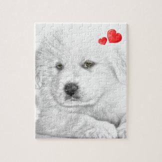 Pencil Sketch Puppy I Love You Puzzle