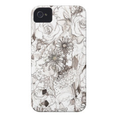 Pencil Sketched Blooms Iphone Case at Zazzle