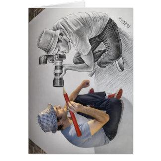 Pencil Vs Camera - 3D Art - Photographer Greeting Card